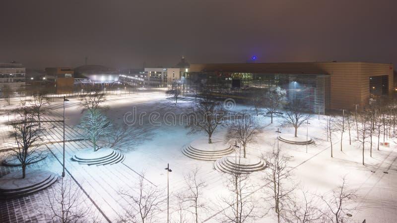 La plaza dell'Expo sulla zona fieristica di Hannover, la più grande mostra ha frantumato nel mondo immagini stock