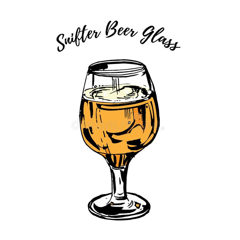 La pleine bière a refoulé le verre de verre ballon de bière de pilsen de pils a isolé sur le fond blanc Illustration tir illustration stock