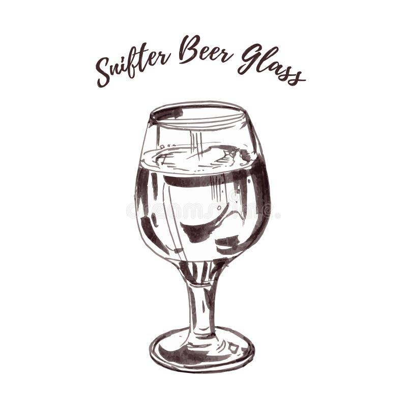 La pleine bière a refoulé le verre de verre ballon de bière de pilsen de pils a isolé sur le fond blanc Monochrome tiré par  illustration stock