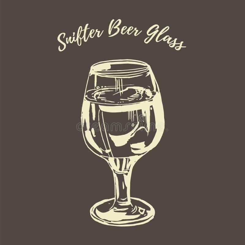 La pleine bière a refoulé le verre de verre ballon de bière de pilsen de pils a isolé sur le fond de tableau noir Vecteur bla illustration libre de droits