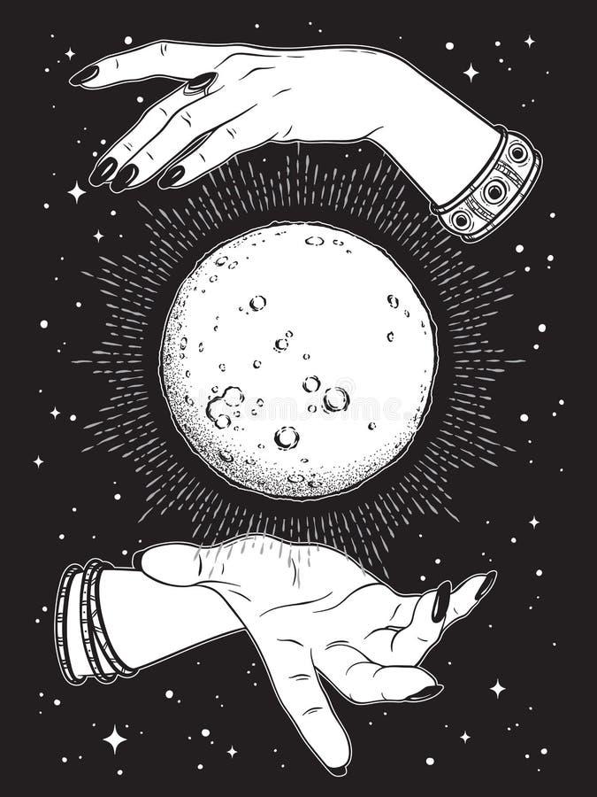 La pleine lune tirée par la main avec des rayons de lumière dans des mains de schéma et point diseur de bonne aventure fonctionne illustration de vecteur