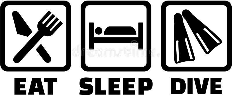 La plongée à l'air avec mangent des icônes de sommeil illustration libre de droits