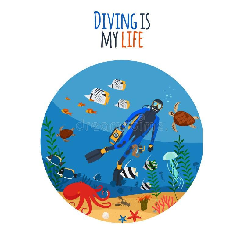 La plongée est mon illustration de la vie illustration de vecteur