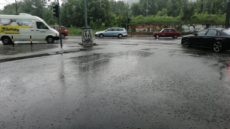 La pluie Belgrade peut la rue 2019 images stock
