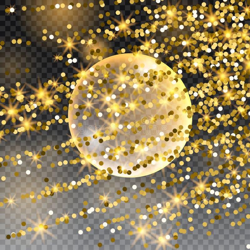 La pluie en baisse de météore Comète dans l'espace, le météore et l'énergie, lueur en forme d'étoile, déplacement puissant d'étoi illustration de vecteur