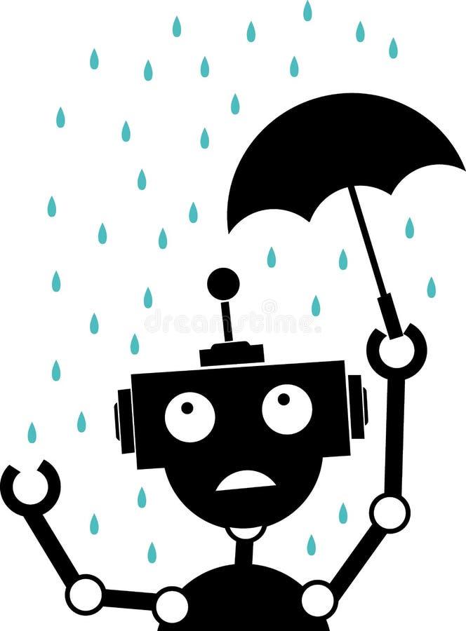 La pluie malheureuse de robot de silhouette retient le parapluie photos libres de droits