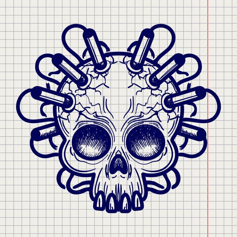 La pluma bosquejó el cráneo de los monstruos con dinamita ilustración del vector