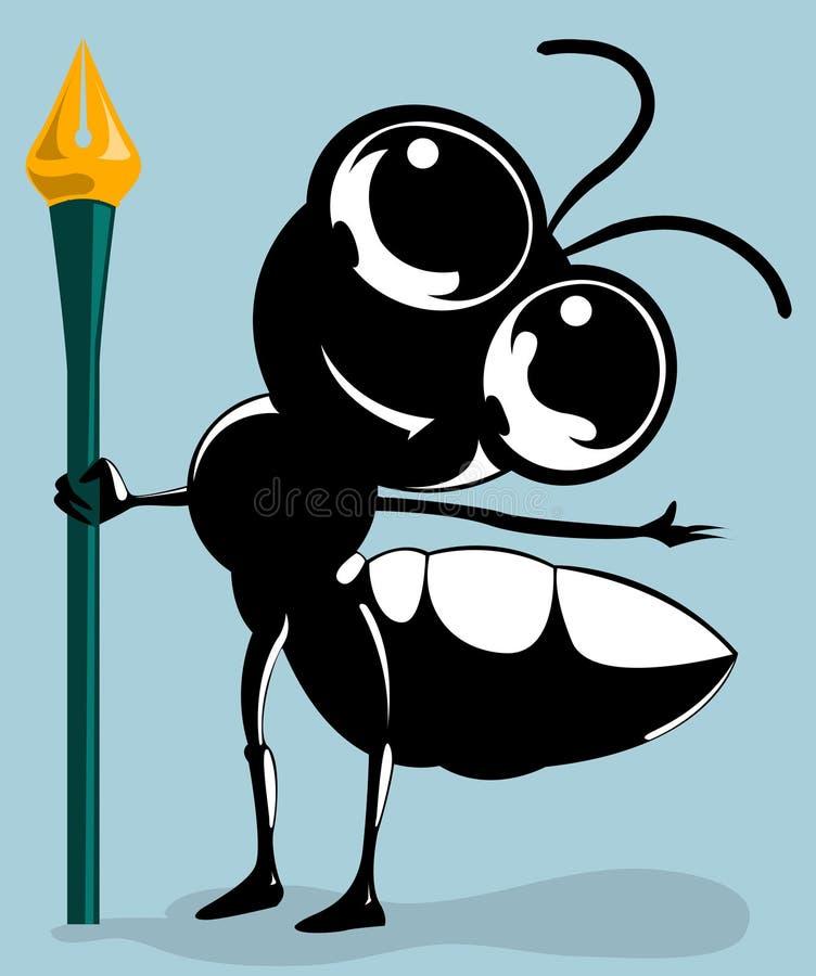La pluma de explotación agrícola de la hormiga stock de ilustración