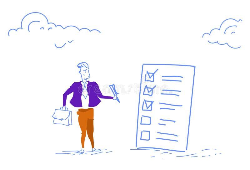 La pluma de tenencia confusa del hombre de negocios que mira el signo de interrogación de la lista de verificación piensa garabat ilustración del vector