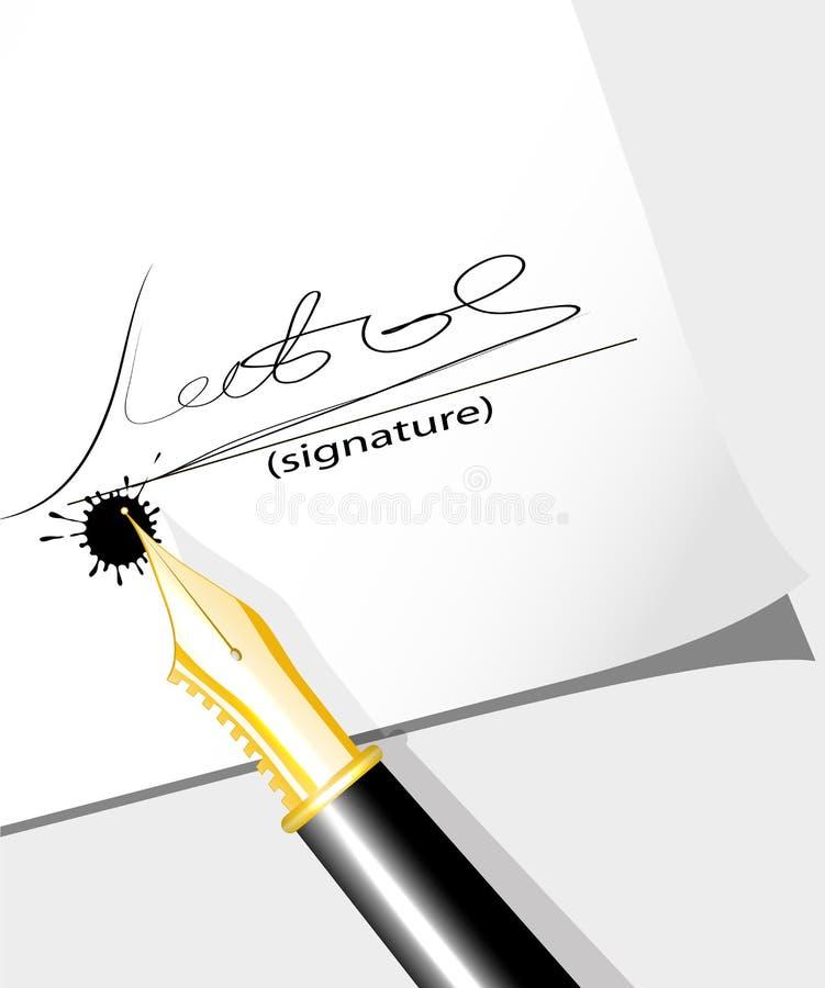 La pluma de la tinta deja la firma en el documento ilustración del vector