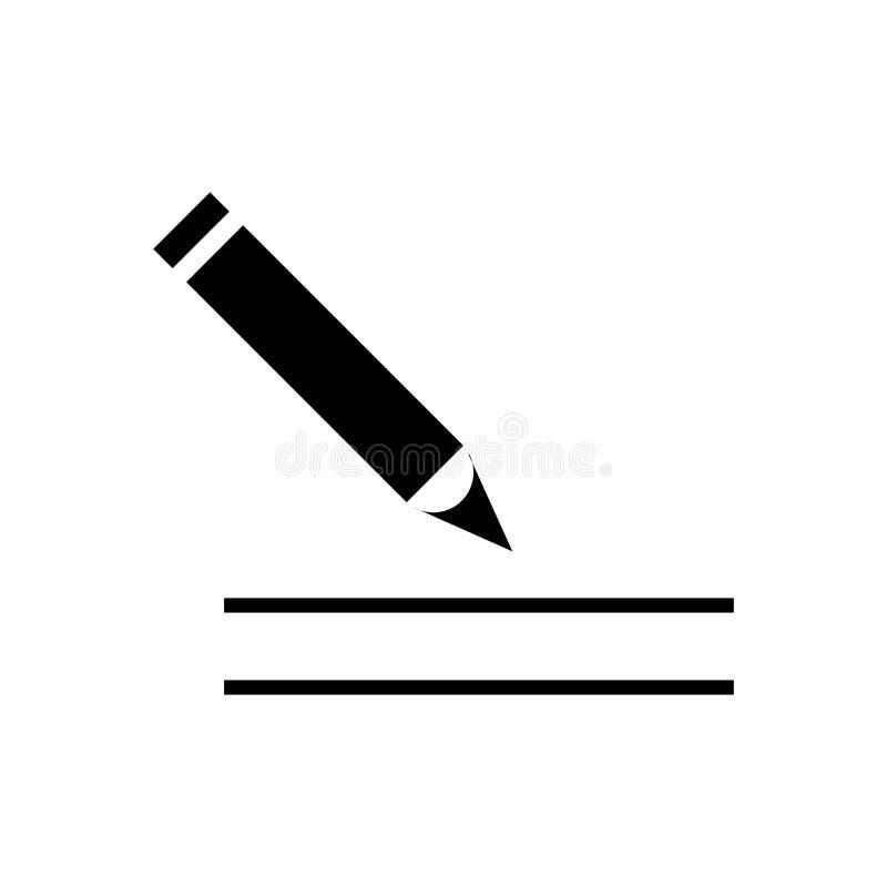 La pluma llenó la escritura de la muestra y del símbolo del vector del icono de la herramienta aislada en el fondo blanco, pluma  stock de ilustración