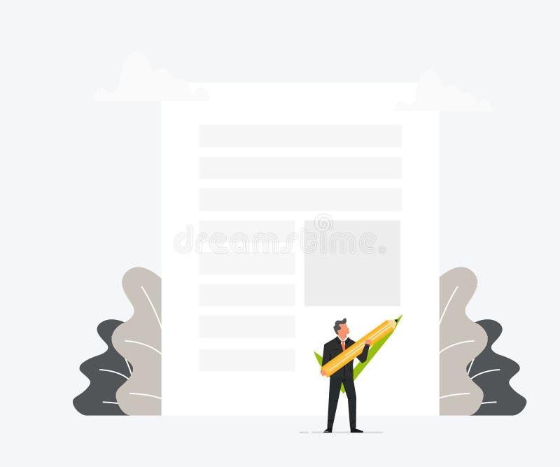 La pluma o el lápiz de tenencia del hombre de negocios y pone su firma en el contrato Diseño plano del ejemplo del vector acertad stock de ilustración