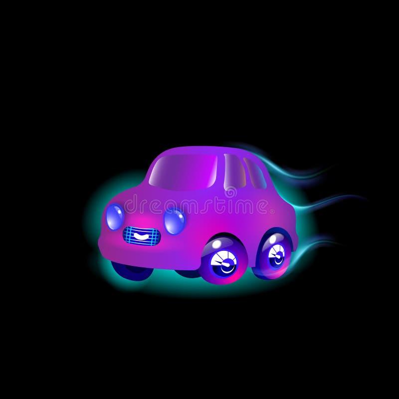 La plupart de couleur pourpre de voiture de jouet de dessus-fin dans le vecteur drôle de style Violette lumineuse pour le bébé In illustration libre de droits