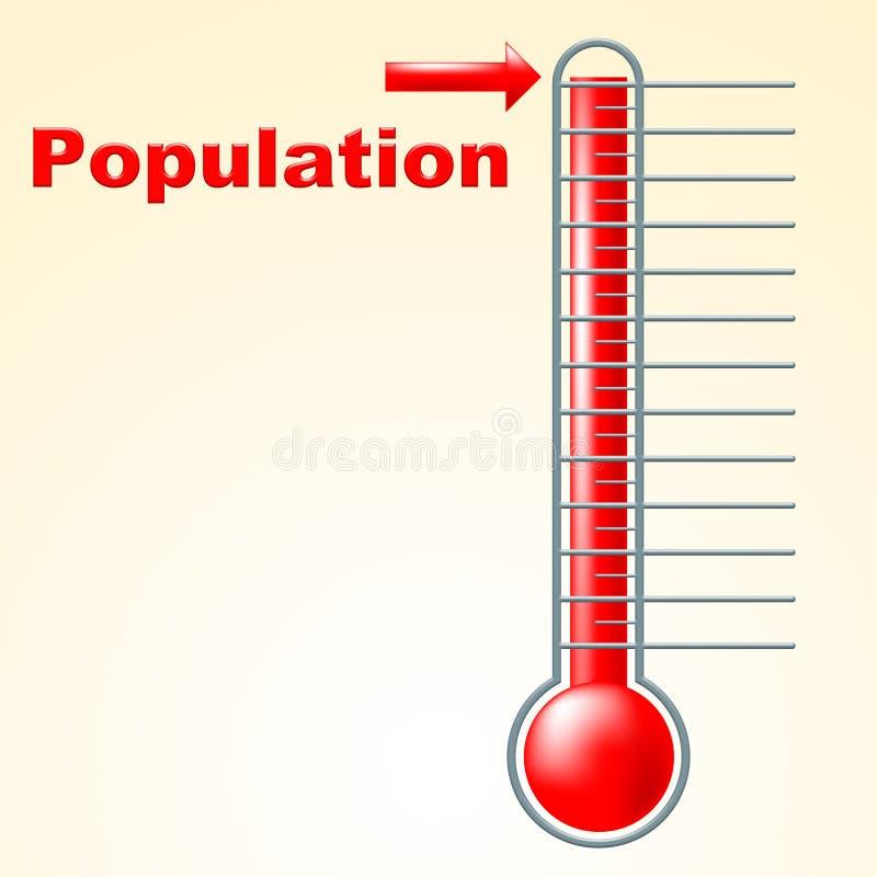 La población del termómetro muestra el termóstato Celsius y la temperatura stock de ilustración
