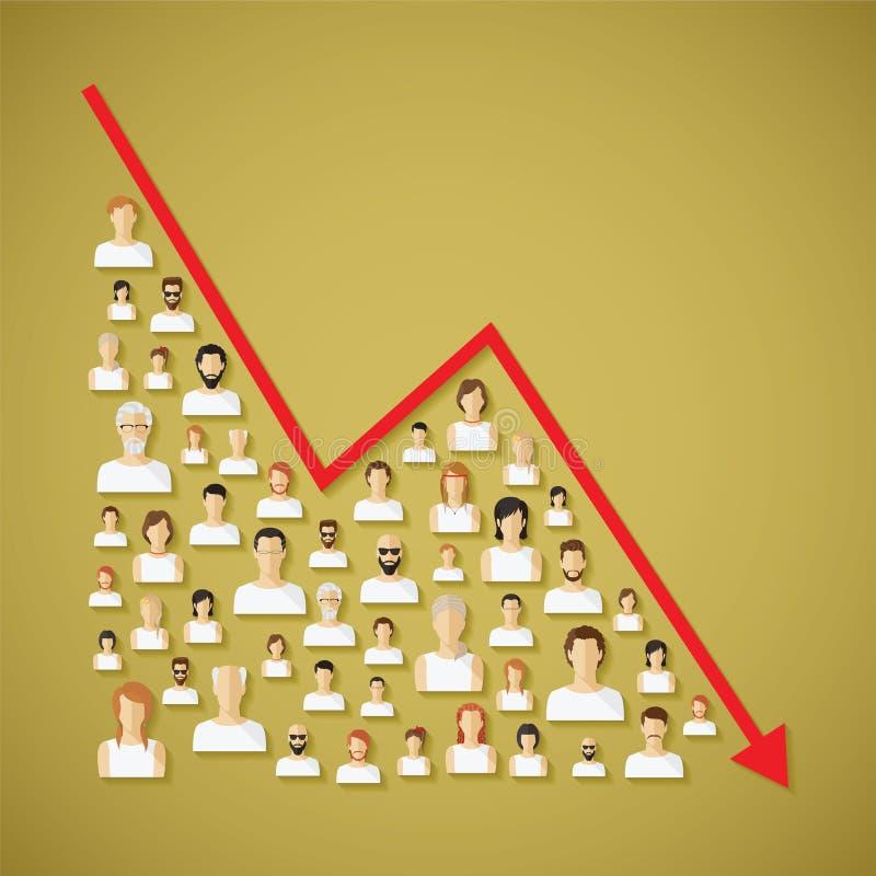 La población social y la demografía de la red del vector disminuyen concepto ilustración del vector