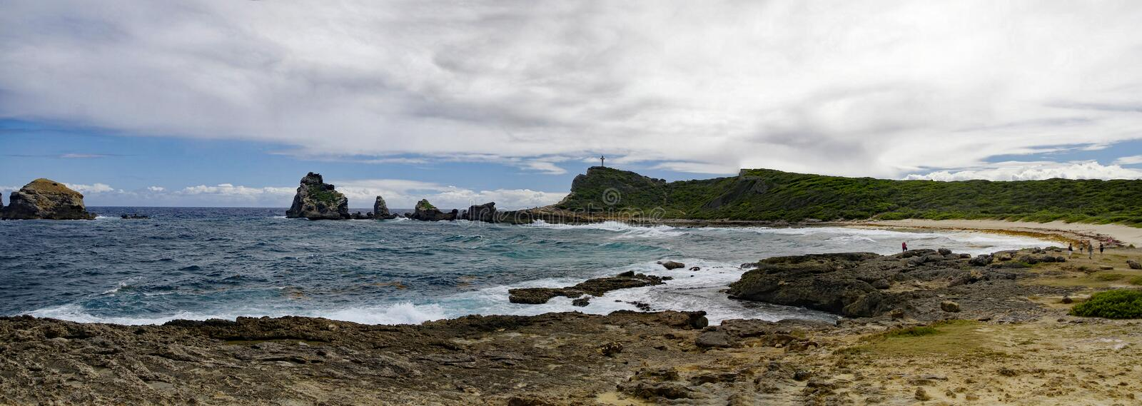 La Pointe des Chateaux Castles headland is a peninsula that extends into the Atlantic Ocean, Guadeloupe. La Pointe des Chateaux Castles headland is a peninsula royalty free stock photo