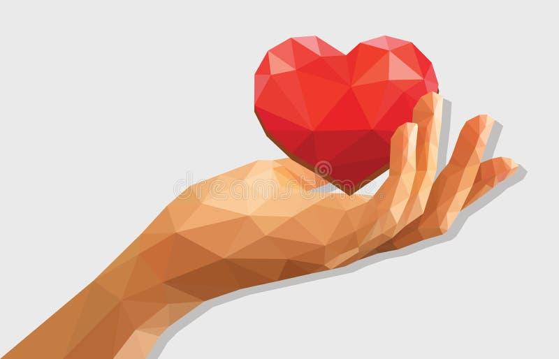 La poli mano sinistra a coppa rivelata bassa poligonale che tiene un cuore è illustrazione di stock