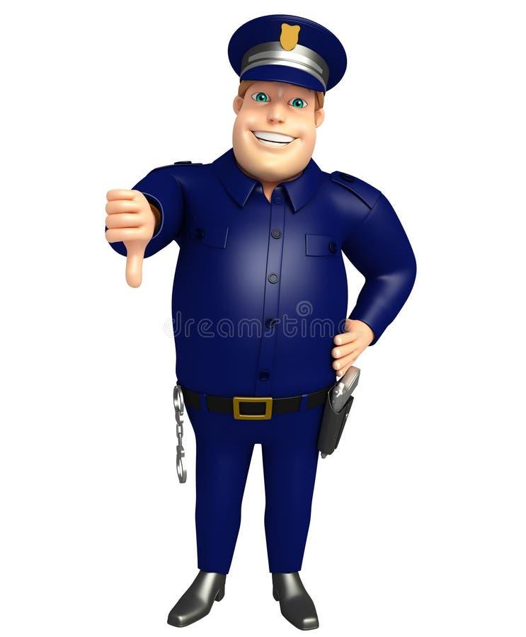 La policía con los pulgares abajo presenta libre illustration