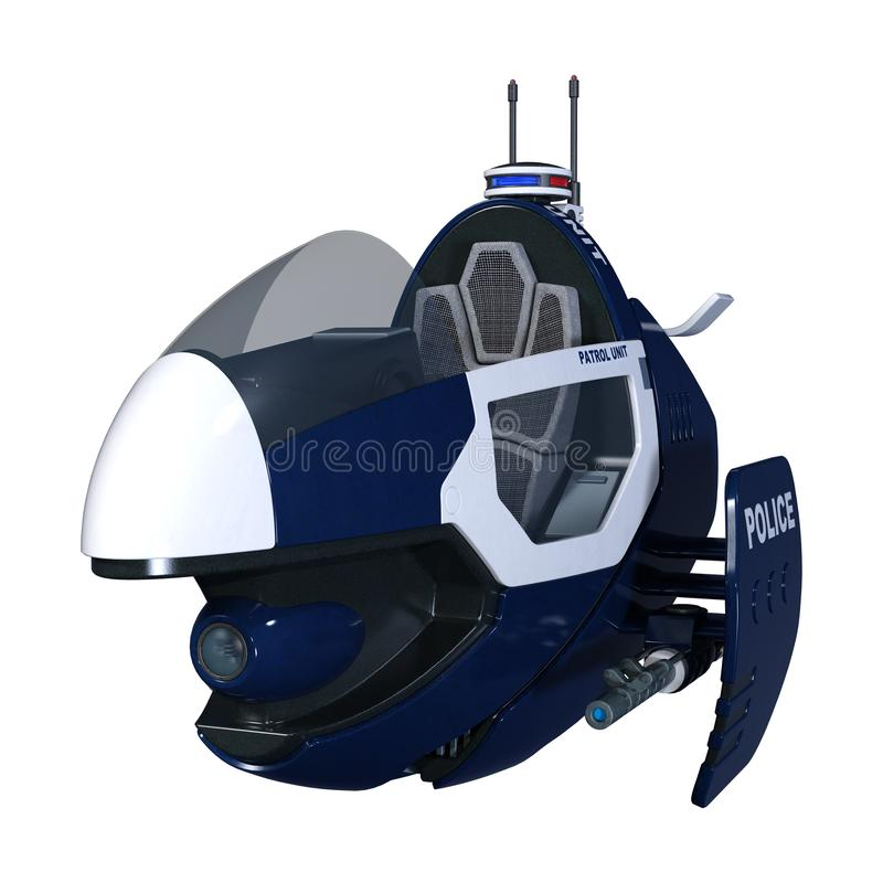 la policía del vuelo de la ciencia ficción de la representación 3D Bike en blanco ilustración del vector