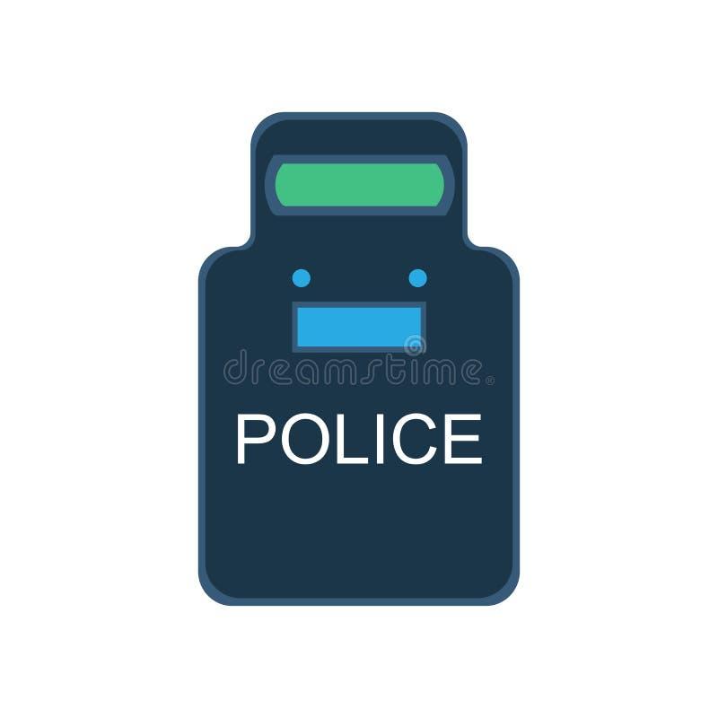 La policía golpea con fuerza el plano de la seguridad del uniforme del guardia del icono del ejemplo del vector del escudo ilustración del vector