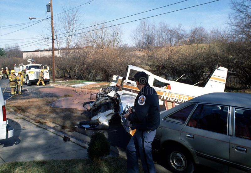 La policía investiga un accidente de avión en nuevo Carrolton foto de archivo libre de regalías
