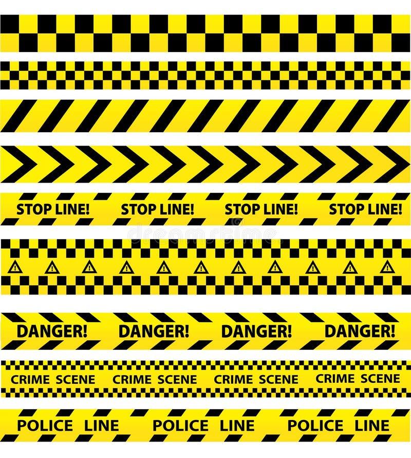La policía negra y amarilla raya la frontera, construcción, caut del peligro libre illustration