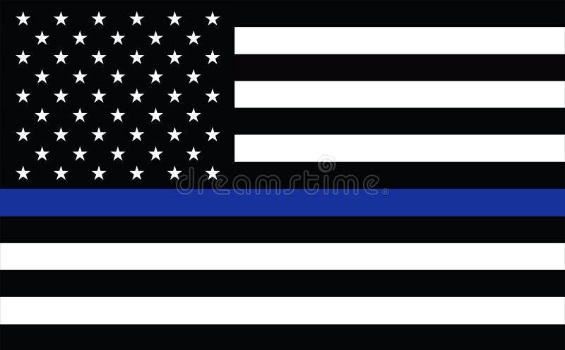 La police américaine diminue Ligne bleue mince symbole de police de drapeau Drapeau américain avec Blue Line mince Fond âgé grung illustration libre de droits
