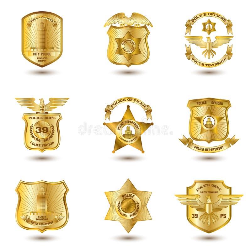 La police Badges l'or illustration de vecteur