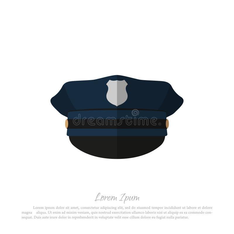 La police couvre sur le fond blanc Icône de chapeau de policier illustration libre de droits