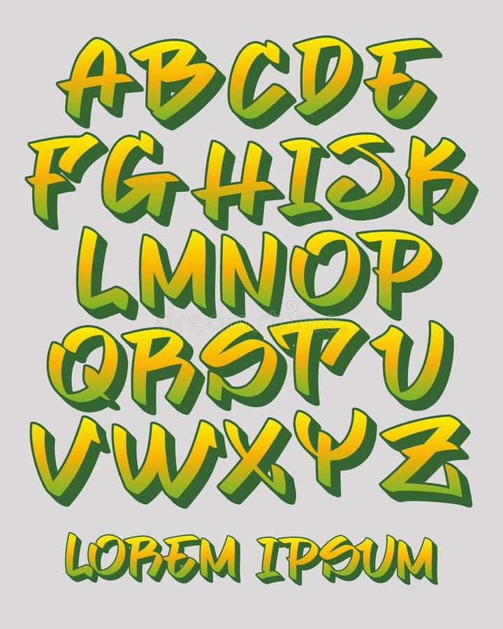 La police 3D - main de graffiti écrite - dirigez l'alphabet illustration de vecteur