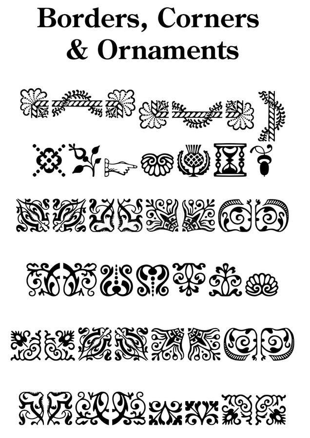 Le cru encadre des ornements de coins illustration stock