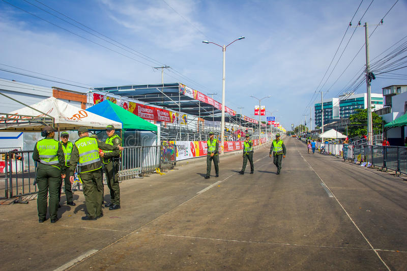 La police dirige la sécurité en Colombie plus photo libre de droits