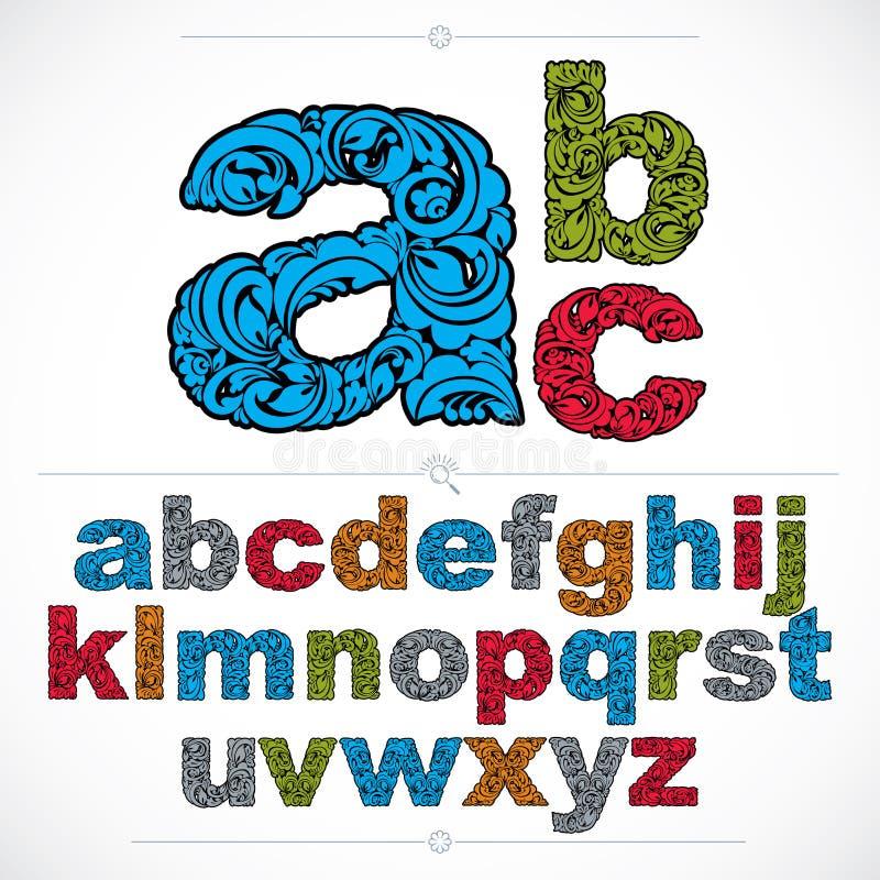 La police florale, alphabet minuscule de vecteur tiré par la main marque avec des lettres des décorums illustration de vecteur
