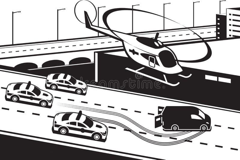 La police patrouille chassant le criminel illustration de vecteur