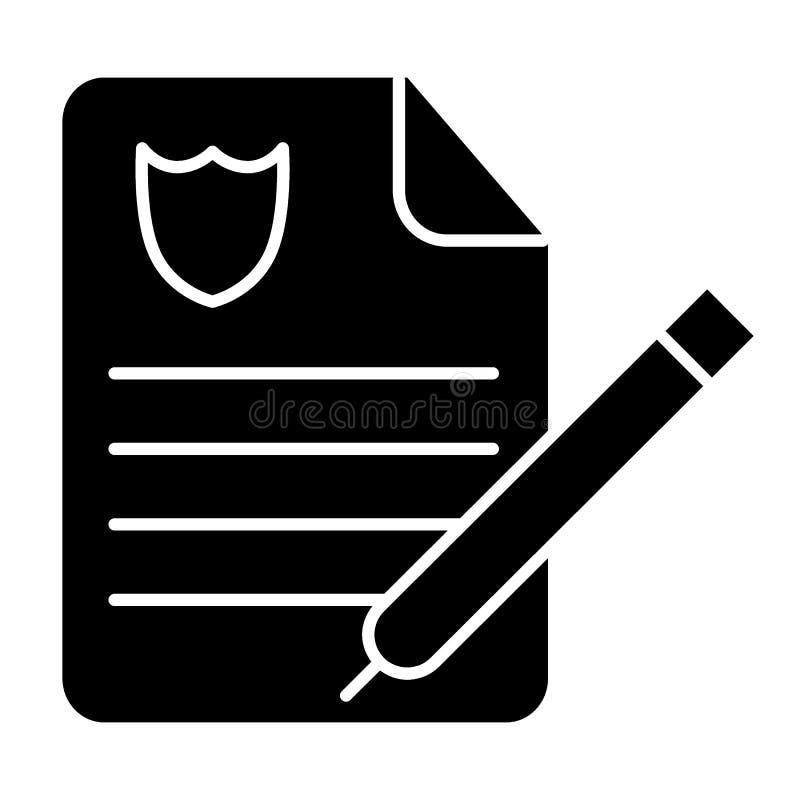 La police rapporte l'icône solide Illustration de papier d'ordre de police d'isolement sur le blanc La police documente la concep illustration stock