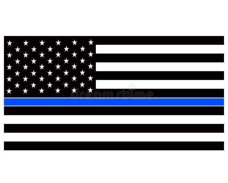 La police am?ricaine diminue Drapeau am?ricain mince de police de Blue Line illustration libre de droits
