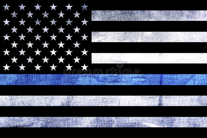 La police soutient le drapeau Blue Line mince photos libres de droits