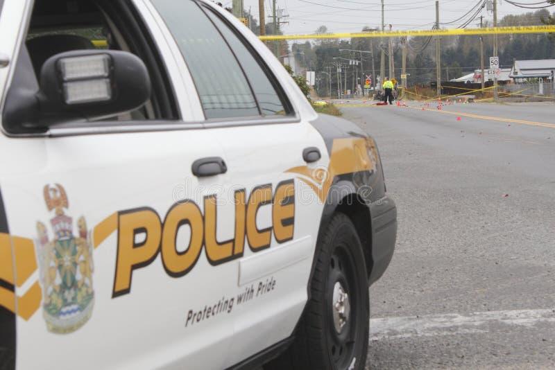 La police vérifie la fatalité de véhicule à moteur image stock