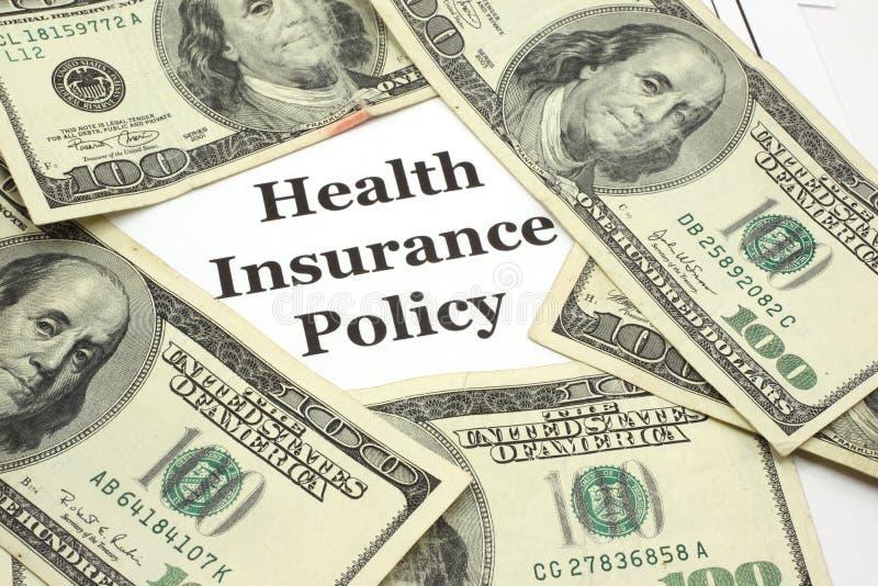 La politica di assicurazione contro le malattie costa i contanti fotografia stock libera da diritti