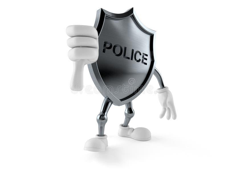 La polizia badge il carattere con i pollici giù gesture royalty illustrazione gratis