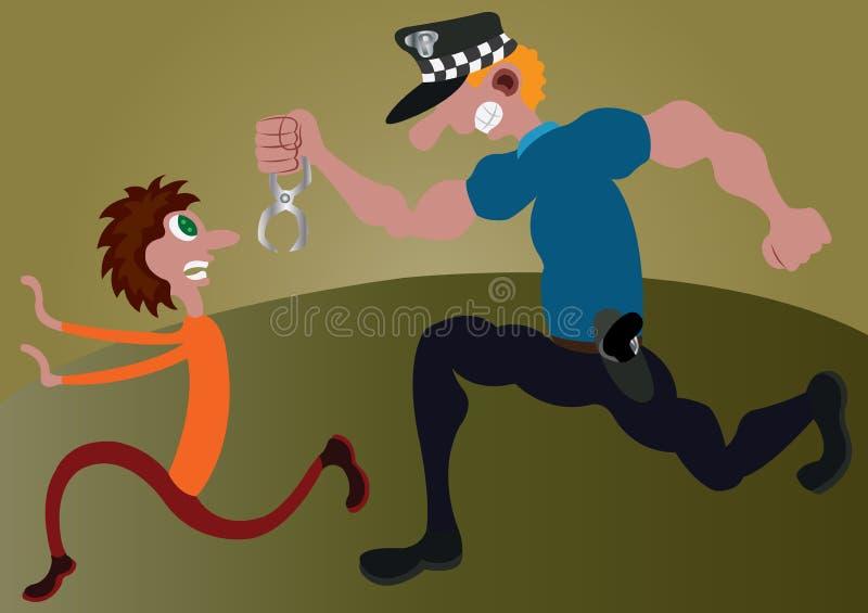 La polizia insegue l'inseguimento ravvicinato illustrazione di stock