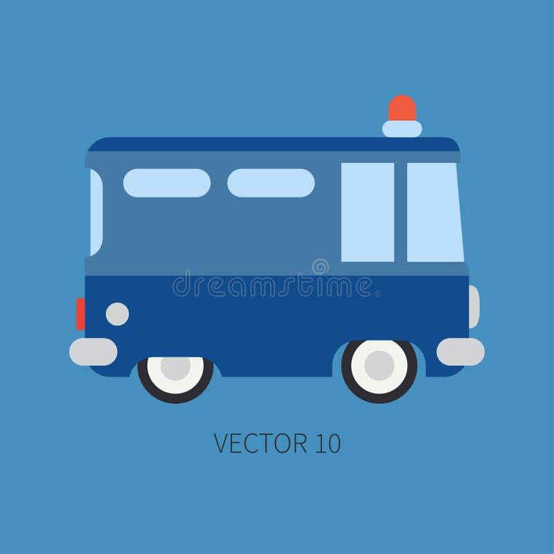 La polizia piana normale dell'icona di colore di vettore trasporta Veicolo di assistenza di scopo speciale Stile del fumetto manu immagini stock