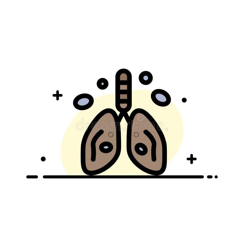 La pollution, Cancer, coeur, poumon, ligne plate d'affaires d'organe a rempli calibre de bannière de vecteur d'icône illustration de vecteur