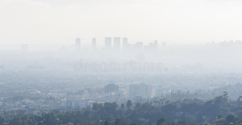 Air Pollution in Los Angeles, California stock photos
