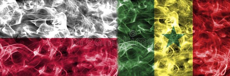 La Pologne contre le drapeau de fumée du Sénégal, groupe H, coupe du monde du football de Fifa 2 illustration libre de droits