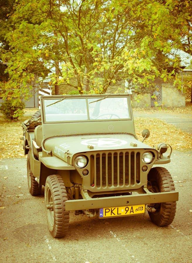 La Polonia, Poznan - 1° ottobre 2016 Jeep militare americana fotografia stock libera da diritti