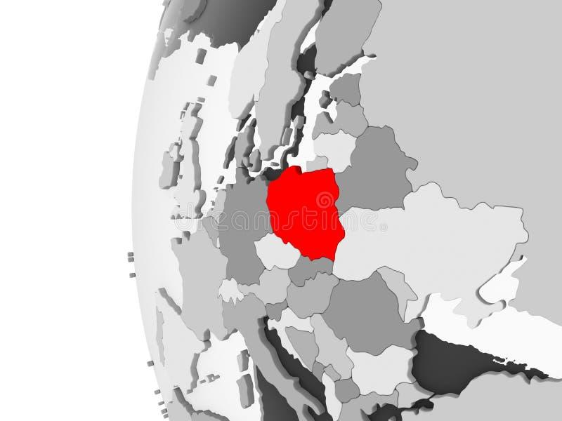 La Polonia sul globo grigio illustrazione di stock
