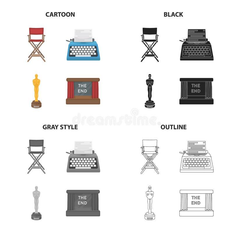 La poltrona del ` s di direttore, una macchina da scrivere, un premio di festival cinematografico, uno schermo nel cinema Raccolt illustrazione vettoriale