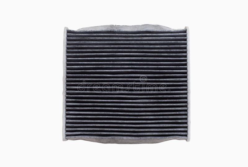 La polvere ed il filtro sporco dal condizionamento d'aria dell'automobile hanno isolato fotografie stock libere da diritti