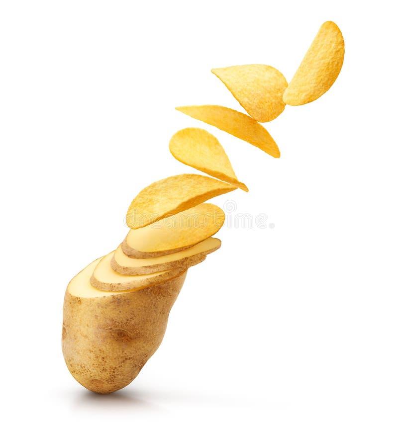 La pomme de terre découpe la transformation en tranches en frites d'isolement image stock